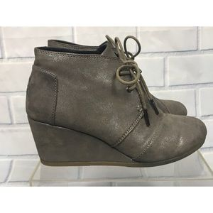 Toms Desert GunmetalMetallic Wedge Ankle Booties
